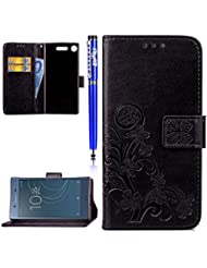 EUWLY Coque Sony Xperia XZ1,Sony Xperia XZ1 Housse,Sony Xperia XZ1 Étui Cuir,Premium Folio Cuir [ Lucky Clover ] Embossing Portefeuille avec Cordon Lanyard Retro Housse pour Sony Xperia XZ1,[ Anti Choc] [ Anti-scratch ] Folio Flip PU Leather Wallet Case Coquille Smart de Coque avec Card Holder étui pour Sony Xperia XZ1 + 1 x Stylet Bleu - Noir