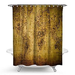 "kisy antiguo mapa del mundo impermeable cortina de ducha de baño retro brújula náutico histórico mapa baño cortina de ducha tamaño estándar 70""x 70,"" vintage amarillo"