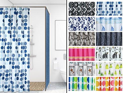 wasserabweisender Duschvorhang in 12 verschiedenen Dessins – ca. 180 x 200 cm, sea of dots
