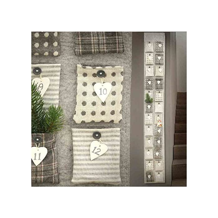 linoows Adventskalender, Wandkalender mit 24 großen Taschen, Filz-Kalender zum befüllen