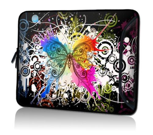 wortek Universal Notebooktasche Schutzhülle aus Neopren mit extra Zusatzfach für Kabel, Maus und Zubehör für Laptops bis 15,4 Zoll - Schmetterling Bunt