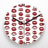 Reloj de pared 30 cm con ilustración estampado labios rojos fondo blanco