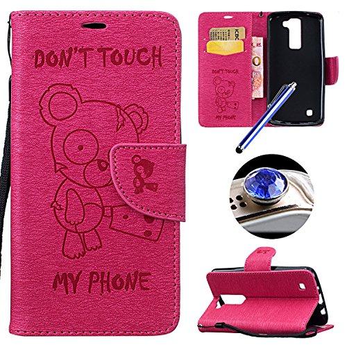 LG K7 Coque,Cuir Coque Leather Wallet Case pour LG K7, Etsue Etui Housse pour LG K7,[Drôle Cartoon Ours ] Motif Dessin Folio Bookstyle Étui Housse en Cuir Case à rabat de PU Cuir Portefeuille avec Mag Panda Rose Red