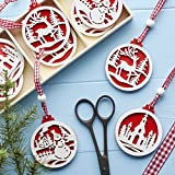 Box of 9 Giselsa Graham Red and White Wooden Fretwork Hanging Christmas Tree Decorations 6cm