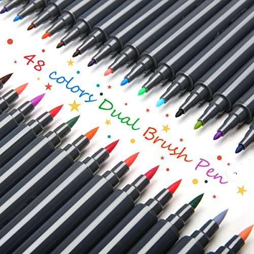 Manga Stifte (Aquarell Stift Set, ARTISTORE 48 Farben Dual Spitze Wasserfarben Pinselstift für Kinden, Malerei, Malbücher, Manga, Comic, Kalligrafie)