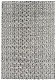 Teppich Wohnzimmer Carpet modernes Design IVES UNI RUG 60% Baumwolle 40% Jute 100x150 cm Rechteckig Schwarz/Weiß | Teppiche günstig online kaufen