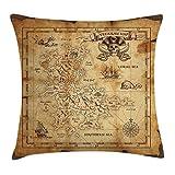 fringcoook Island - Funda de cojín decorativa, diseño de mapamundi rústico, diseño de mapa del tesoro, 45,7 x 45,7 cm, color beige y marrón
