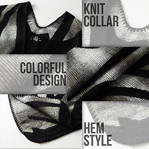 Ferand Poncho Cape Elegant für Damen, Stil Vorne Offen und Dicke für Herbst Winter Stil 4: Schwarz