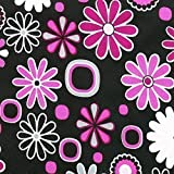 OXFORD Polyester Stoff Schwarz PINK Blumen wasserabweisend