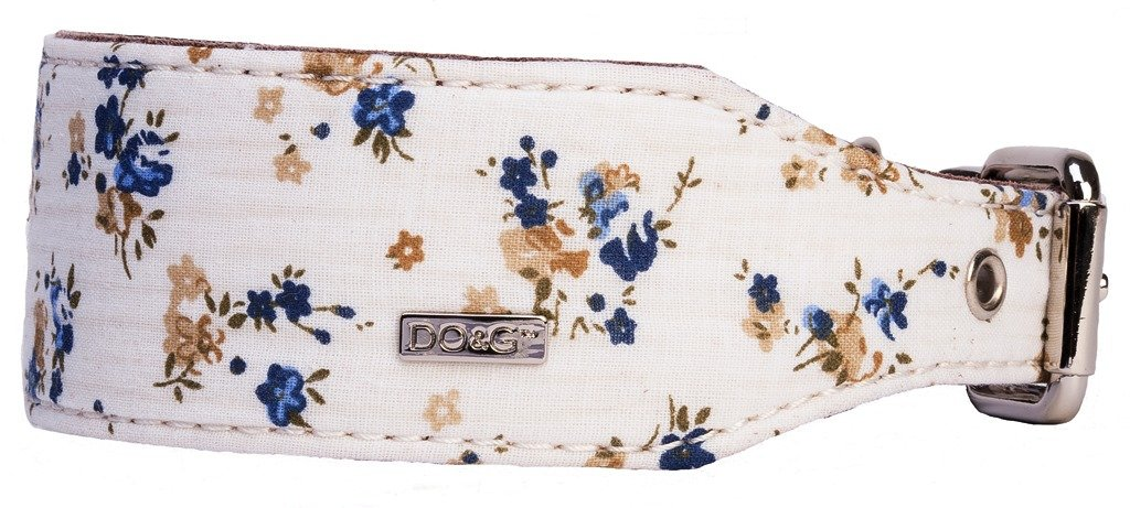 DO&G Oriental Silks Unique Flower Style Leather and Dog Collar, White