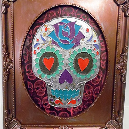 Mixed media framed art work sugar skull, day of the dead.