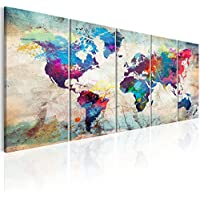 murando - Cuadro 200x80 cm - Mapamundi - Impresion en calidad fotografica - Cuadro en lienzo tejido-no tejido - Mapa del Mundo Continente k-A-0179-b-n
