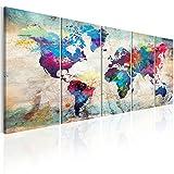 murando - Bilder 225x90 cm - Leinwandbilder - Fertig Aufgespannt - Vlies Leinwand – 5 Teilig - Wandbilder XXL - Kunstdrucke - Wandbild - Weltkarte Welt Karte Kontinent Landkarte k-A-0179-b-n