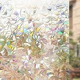 Rabbitgoo Vinilo Ventana Vinilo Cristal Libre de Adhesivo Vinilo Translucido Película de La Ventana 3D Laminas Electrostaticas para Ventanas de Puertas Cristal, Cocina,Muebles de Cristal 44.5*200CM