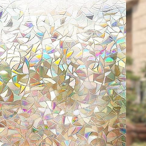 Rabbitgoo 3D Non-Adhesive Window Film Decorative Privacy Static Clings Rainbow Colorful Pattern Glass Film 44.5CM x 200CM