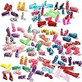 homiki 40 Paires Différentes Chaussures à Talons Hauts Bottes Sandale Multicolore Outfit Accessoires pour Barbie Poupée Cadeau d'Anniversaire