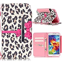 Linvei Samsang Galaxy S5 Case Flip Protection Case Cover Wallet Pouch with Strengthened Magnetic Clasp For Samsung Galaxy S5 Neo Leopard and bow (Pink)