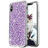 OKZone iPhone X Case, Luxury Bling Glitter Sparkle Design Slim Fit Soft Gel TPU Silicone Skin Cover Anti-scratch Protective Shining Fashion Style Case for Apple iPhone X 5.8 Inch (Purple)