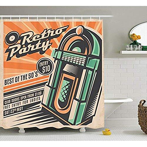 re Decor Collection, Celebration Disco Dj Entertainment Rock'n'Roll Junge Leute Event Einladung Design Print, Bad-Duschvorhang aus Polyestergewebe mit Haken, Orange Türkis ()