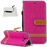Galaxy J5 2016 Hülle, TOCASO Wallet Case Schutzhülle für Samsung Galaxy J5 2016 Leder Hülle PU Leder Tasche Flip Case Bunt tasche Handyhülle für Samsung Galaxy J5 2016 Magnet Closure -Denim Rose Rot