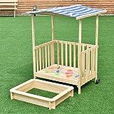 Spielveranda mit Sandkasten Sandkiste Sandbox Kinderspielhaus Spielhaus Sonnenschutz Deckel Dach