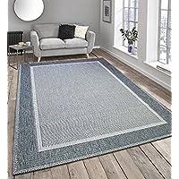 Flatweave Border Design Very Hardwearing - Indoor or Outdoor Rug Patio / Living Room / Dining Room Use - (Grey, 160x230cm)