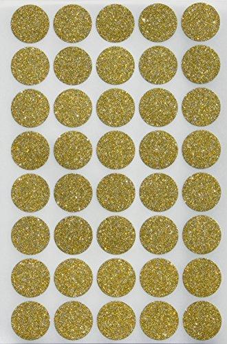 Glitzer Rund Dot Aufkleber 3/10,2cm-Umschlag Dichtung und Hochzeit Einladung Etiketten 1,9cm 19mm, Royal grün 200 Glitter-Gold