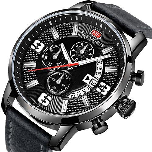 Uhren Herren Sportuhren Chronograph Date Lederband Quarz Wasserdicht Mode Armbanduhr für Familiengeschenk