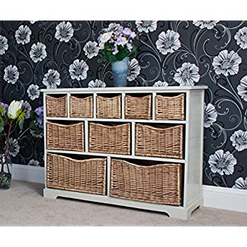 Gloucester Large Storage Chest With 10 Multi Sized Hand Woven Willow Baskets