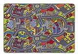 misento Kinderteppich Spielteppich Straßenteppich 140 x 200 cm Spielmatte im Strassendesign Kleinstadt Auto Spielunterlage Spielmatte Kinderzimmer schadstoffrei