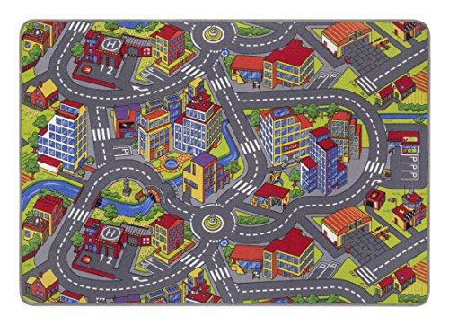 misento Kinderteppich Straßenteppich Spielunterlage  Kinderzimmer Schadstoff geprüft 140 x 200 cm (Für Kinder Stadt-teppich)