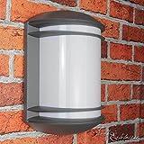Moderne Wandleuchte in Anthrazit inkl. 1x 12W E27 LED 230V Wandlampe aus Aluminium & Kunststoff für Garten/Terrasse Garten Weg Terrasse Lampe Leuchten außen