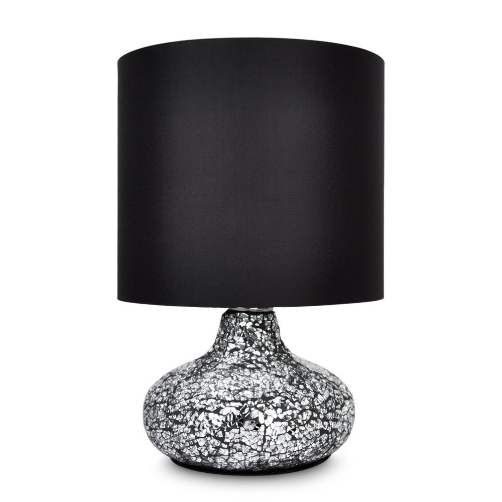 Modern Crackle Glass Mirror Effect Table Lamp With Black Shade:  Amazon.co.uk: Lighting