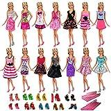 VILLAVIVI 15pcs 5 Kleidung Kleider Outfits + 5 Paar Schuhe + 5 Kleiderbügel Kleiderständer Zubehör für Barbie Puppen