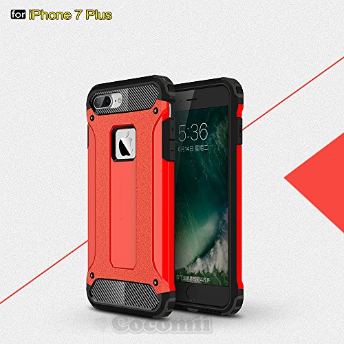iPhone 8 Plus / 7 Plus Hülle, Cocomii Commando Armor NEW [Heavy Duty] Premium Tactical Grip Dustproof Shockproof Hard Bumper Shell [Military Defender] Full Body Dual Layer Rugged Cover Case Schutzhüll Red