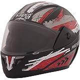 Sepia ABS Premium Rider Full Face Graphic Helmet (Black and Red, Medium)