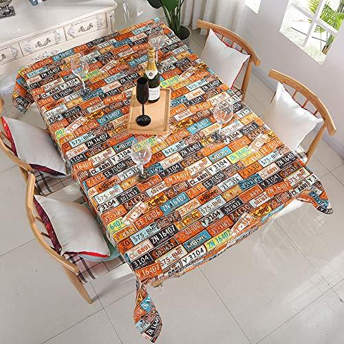 BH-JJSMGS Mode Leinwand Blatt Tischdecke, Restaurant Wohnkultur Tischdecke Orange 90 * 90