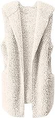 FeiBeauty Damen-Normallack-Herbst-Winter-Plüsch-Wolljacken-mit Kapuze Wolle-warmes ärmelloses Hoodie-Strickjacke-Windbreaker-Jacke