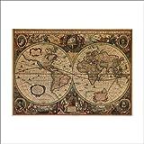 VLIMG Pegatinas de pared , Cartel de papel Kraft náutico mapa mundial náutico Fondo de sala de estar Pegatinas de pared