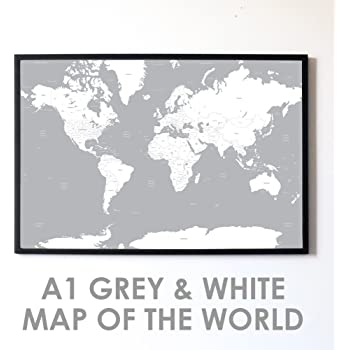 World Map Poster Contemporary Black Grey Style X Cms - Grey world map poster