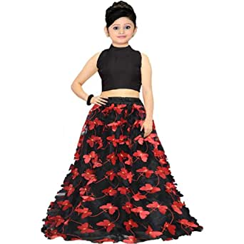 Buy F Plus Fashion Girl S Net Butterfly Design Lehenga Choli Fp Butterfly Black 11 12 Years At Amazon In