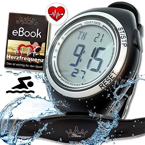 Heartbeat Puls-Uhr mit Brustgurt Herzfrequenz-Messung & Fitnesstudios ANT Trainingsbereich, Kalorienverbrauch Fettverbrennung Sportuhr Wasserdicht (Schwimmen)