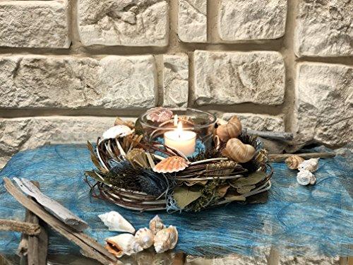 Tidschdeko Tischdekoration Nr.42a Tischgesteck elegant, Gesteck mediterran Muscheln mit Teelicht und Kranz türkis Sommer moderne Tischdeko Sommerdeko Sand (Mediterrane-kranz)