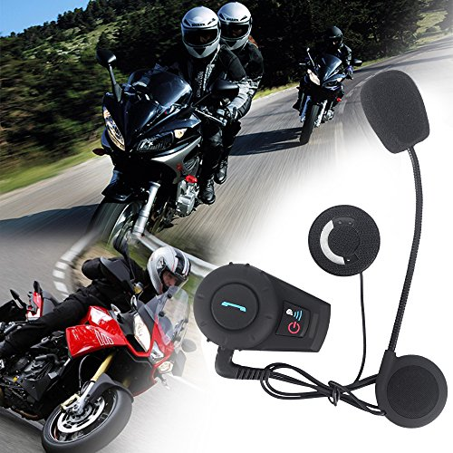 FDC BT Bluetooth Headset Motorcycle Intercom Motorcycle Helmet Intercom Interphone Bluetootth Headset Great for Riding/ Skiing (2PCS, Range 500M, Waterproof, Up to 2 or 3 Riders, Walkie Talkie, GPS- Hands Free & Bluetooth A2DP)