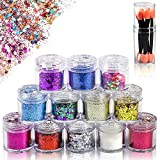 Yojoloin Glitzer Gesicht Make Up Sequin Chunky Glitter für Gesicht Nägel, Festival Make Up Glitzer Gesicht für Musik Festival,Masquerade Halloween Party-umfassen Free 7 Pcs Eyeshadow Brush.(12 Boxen)