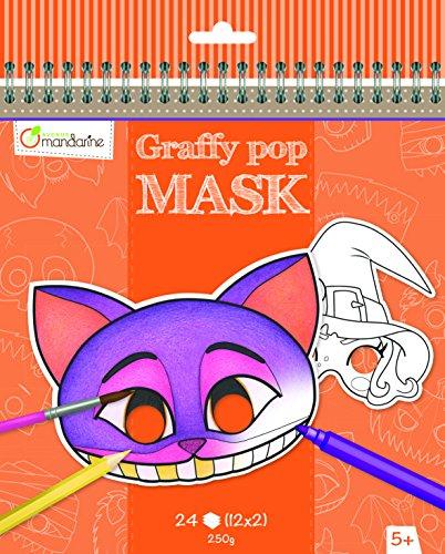 Avenue Mandarine GY026O Malbuch Graffy pop mit vorgestanzten Masken zum Ausmalen, 250g Zeichenpapier gedruckt, 24 Blatt, 12 verschiedene Motive x 2, geeignet für Kinder ab 5 Jahren, 1 Stück, Halloween