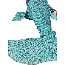 Candora colore colorato blu sirena coda divano coperta, l' aria condizionata coperta sacco a pelo (Zebra Blu Trim)