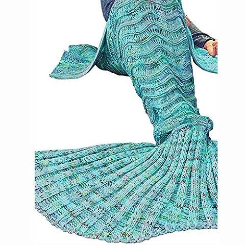 Candora Couleur coloré Bleu Queue de sirène Canapé Couverture, Climatisation Couverture Couverture de couchage Adulte/Ado veille Lit Sac de couchage Snuggle articles ménagers à tricoter Polyester Couverture 185* 90cm/73* 35.4dans