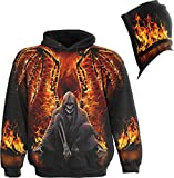 Spiral - Men - FLAMING DEATH - Allover Hoody Black