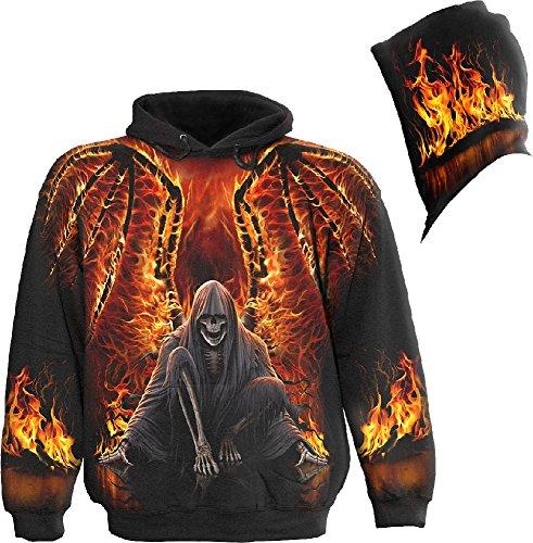 Spiral Flaming Death Felpa con cappuccio nero L